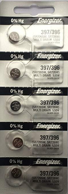 Pin đồng hồ đeo tay 1,55v Silver Oxide Energizer 397,SR726SW chính hãng Made in USA