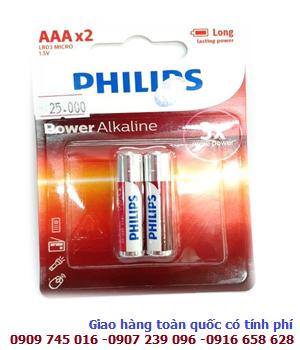 Pin đũa AAA 1,5V Philips LR03/AM4 Alkaline chính hãng (loại vỉ 2 viên)